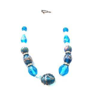 "Vintage upcycle glass necklace. 16 "" blue choker."